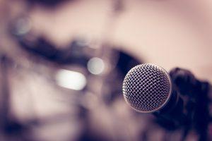 microphone on blur drum background.